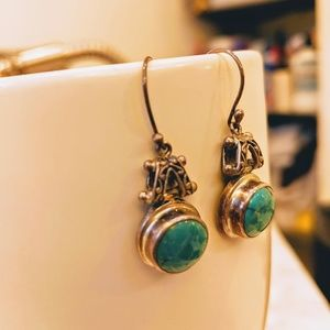 Sterling Silver and Green Turquoise Earrings